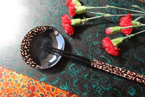 箸豆皿セット(夜桜)